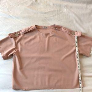 ZARA pink shoulder detail shirt